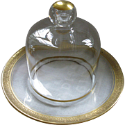 SALE Perfect, Vintage Clear Glass Cloche and Under Plate, with Gilded Gold Trim and Accents