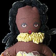 SALE Vintage, WW II, Little Black Brown Hula Girl, Rag Doll, Hand Made in Hawaii