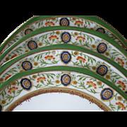 SALE Antique, SET of 4, Hutschenreuther, Austria, Ornate, Hand Painted Porcelain Cabinet Plate