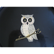SALE Vintage COUROC Hoot-Owl Round Cocktail Tray, Black Lacquer with Wooden Inlay