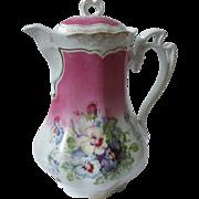 SALE Old, Ornate Rosenthal, German Porcelain Coffee Pot, Hand-Painted Pansies, Pink, Purple, 2