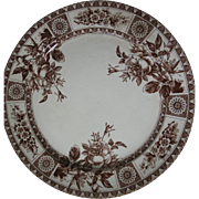 "SALE Large, ""Garfield"" Aesthetic Brown Transferware Ironstone Charger Plate, Butterf"