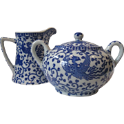 """SALE Early Cream and Sugar Set of Japanese Blue and White Phoenix, """"Howo bird"""" Porce"""