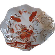 SALE Beautiful, Orange and Gold Hand-Painted Porcelain Leaf-Shaped Bowl, Germany, 1928
