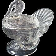 SALE Large, Vintage L.E. Smith Turkey Compote, Clear Glass
