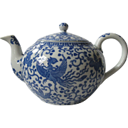"SALE Large, Japanese Phoenix ""Howo"" Bird Blue and White Porcelain Tea Pot, Noritake,"