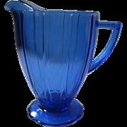 "SOLD Vintage Cobalt Blue Hazel Atlas ""Newport Harpin"" Depression Glass Pitcher, Circ"