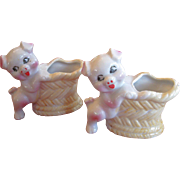 SALE Summer Bar-B-Que!   Pair of Vintage Tooth Pick Holders, Pigs with Baskets