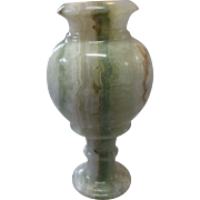 REDUCED Large, Vintage, Marbleized GREEN Alabaster Vase Urn Compote, Italy