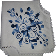 REDUCED Vintage, Delft, Hand- Embroidered Linen Bread Liner Cover
