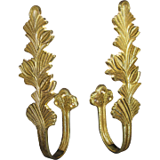 SOLD HUGE, Pair of Vintage solid Brass Curtain Drapery Tie Backs Holders, Leaves