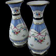 SALE HUGE Pair of Hand Painted, Porcelain Mantel Vases, Urns, Vintage