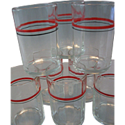 SALE Circa 1933, Original Set of 8 Swanky Swig Cocktail Glasses, Hand Painted, Red & Black ...