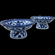 SALE Pair of Cobalt Blue & White Open Salt Cellar Pedestals, Salt Dips