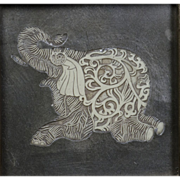 Elephant Picture Pair - Carved Relief - Large