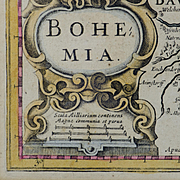 1630 Engraved Bohemia map - Beautifully Framed - Shipped Free