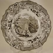 Brown Transferprinted Plate, Enoch Wood, Fountain. 1830s
