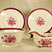 Pink Lustre and Floral Enamel Set, 19th Century