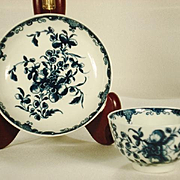Worcester Tea Bowl and Saucer in Mansfield Pattern, 1770's