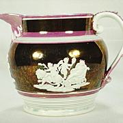 Pink and Copper Lustre Shorthose Style Pitcher C 1820's