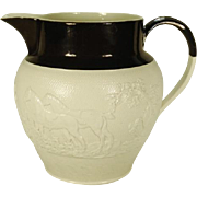 Large Stoneware Pitcher with Hunting Relief Molded Decoration C 1810-1820