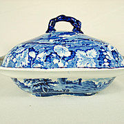 Pearlware Enoch Wood Transfer Printed Vegetable Dish and Cover,  1820's