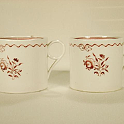Pair of English Porcelain Coffee Cans in New Hall Style Decoration C 1810