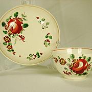 Large Creamware Tea Bowl and Saucer, King's rose decoration  1770-1785
