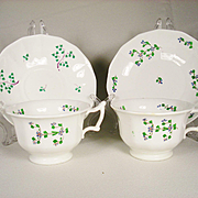 Large Pair of Victorian  Era Sprig Decorated Cups and Saucers for Use