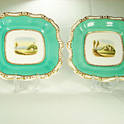 Pair of English Porcelain Topographical Decorated Dessert Dishes.  1830-1835