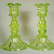 Pair of Sandwich Glass Candlesticks in Vaseline Green  C 1840-60