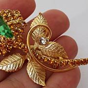 Vintage Designer Austrian / Swarovski  Rhinestone Figural Flower Bud Brooch Pin Peridot Green