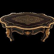 SALE Antique French Napoleon III era Bronze Ormolu Marquetry Boulle Desk Coffee / Center Table