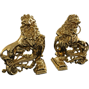 SALE Antique French Empire Style Ormolu Gold gild Bronze Rococo LION Fireplace Andirons Chenet