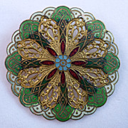 French Champleve Enamel Button 19th Century