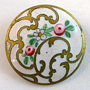 French Painted Enamel Champleve Emaux Pients Button