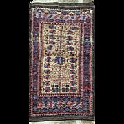 """SALE Unique Antique Belouch Rug, 3'4"""" x 6'4"""""""