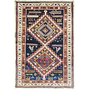 "SALE Magnificent Antique Caucasian Tribal Oriental Rug,, multi colors, 3'5"" x 5'5"""