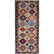 """SALE 3'5"""" x 8'  Great Antique Caucasian Moghan Runner - Gallery size, Multi Colored"""