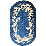 """SALE 3'1"""" x 5'4"""" Charming Oval Art Deco Chinese Rug"""
