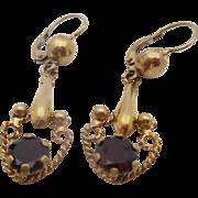 18kt Garnet drop earrings