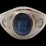 14kt  Sapphire and diamond men's ring
