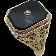 14kt Onyx,diamond filigree ladies ring