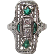 18kt Emerald and diamond deco filigree ladies ring