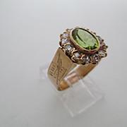 14kt Victorian peridot and diamond ladies ring