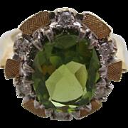 14kt Peridot and diamond ladies ring
