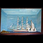 Victorian Folkart Diorama Schooner, Pilot ship, Lighthouse Hela