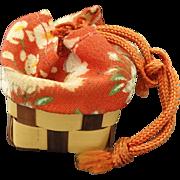 Japanese Folk Art Basket with 6 tiny gods -vintage '70's