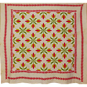 SALE 19th c. Quilt ~Applique Tulips Sawtooth border A+++++