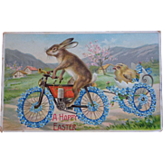 Easter Postcard ~ Bunny on Bike pulling baby chick
